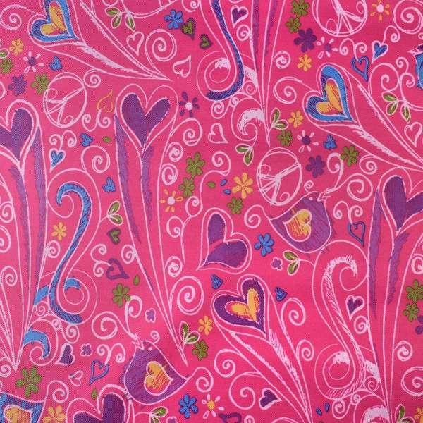 ПВХ ткань оксфорд 600 D малиновый в разноцветные сердца,птички, ш.150 оптом