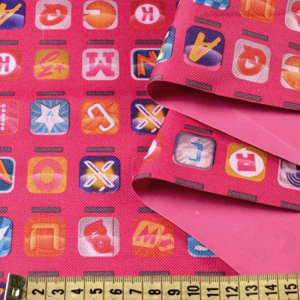 ПВХ ткань оксфорд 600 D розовый в разноцветные квадраты с буквами ш.153 оптом