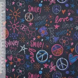 "ПВХ ткань оксфорд 600 D черная ""Love Smile"" ш.150 оптом"