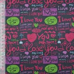 """ПВХ ткань оксфорд 600 D черная """"I Love you"""" ш.150 оптом"""