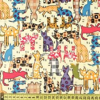 ПВХ ткань оксфорд рип-стоп кремовая в разноцветные кошки, ш.150 оптом