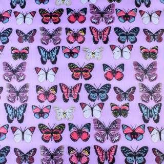 ПВХ ткань рип-стоп 210T розовая в яркие бабочки ш.150 оптом