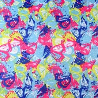ПВХ ткань рип-стоп 210T бирюзовая в сине-розово-желтые бабочки ш.150 оптом