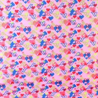ПВХ ткань рип-стоп 210T розовая в разноцветные сердца ш.150 оптом