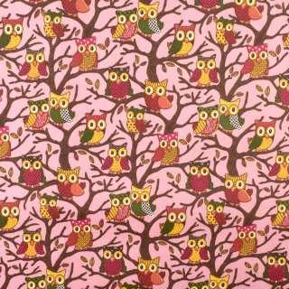 ПВХ ткань рип-стоп 210T розовая в совы на деревьях ш.150 оптом