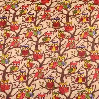 ПВХ ткань рип-стоп 210T бежевая в совы на деревьях ш.150 оптом