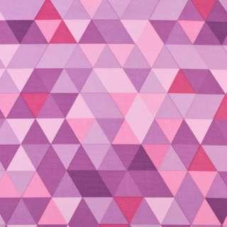 ПВХ ткань рип-стоп 210T в фиолетово-розово-сиреневые треугольники ш.155 оптом