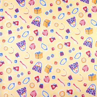 ПВХ ткань рип-стоп 210T желтая в розовые подарки ш.150 оптом