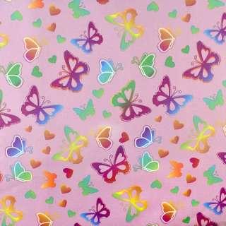 ПВХ ткань рип-стоп 210T фрезовая в яркие бабочки ш.150 оптом