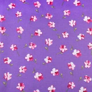 ПВХ ткань рип-стоп 210T сиреневая темная в розовый цветок ш.150 оптом