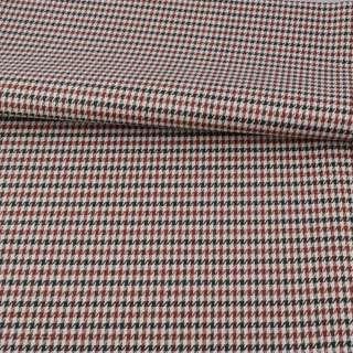 Ткань ПВХ бежевая в черно-коричневую гусиную лапку, ш.150 оптом