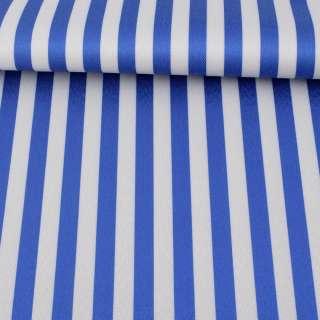 Ткань ПВХ бело-синяя полоска, ш.150 оптом