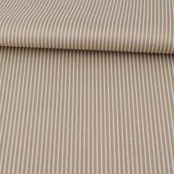 Ткань ПВХ бежевая в белую полоску, ш.150