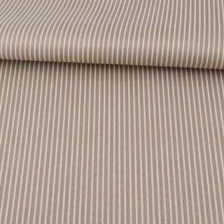 Ткань ПВХ бежевая в белую полоску, ш.150 оптом