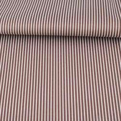 Ткань ПВХ коричневая в белую полоску, ш.145