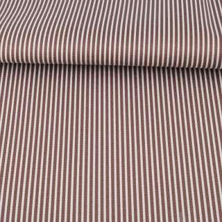 Ткань ПВХ коричневая в белую полоску, ш.145 оптом
