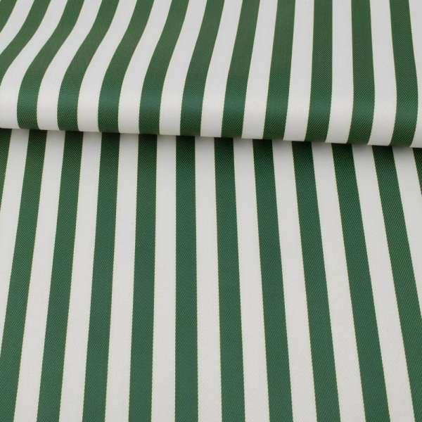 Ткань ПВХ бело-зеленая полоска, ш.150 оптом