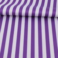 Ткань ПВХ бело-фиолетовая полоска, ш.150