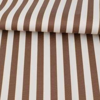 Ткань ПВХ бело-коричневая полоска, ш.150 оптом