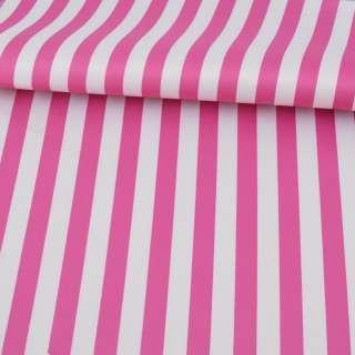 Ткань ПВХ бело-розовая полоска, ш.150 оптом