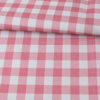 ПВХ тканина оксфорд 600D біло-рожева клітка, ш.150 оптом