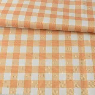 ПВХ тканина оксфорд 600D біло-помаранчева клітка, ш.150 оптом