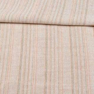 Ткань суровая (парусина) бежевая в оранжевую и серую полоску ш.150 оптом