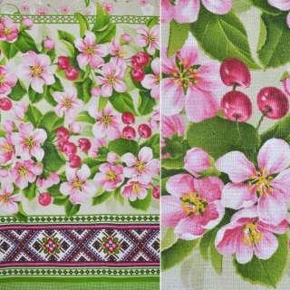 Рогожка набивная бежевая с 2-ст. купоном цветы и вишенки ш.150 оптом