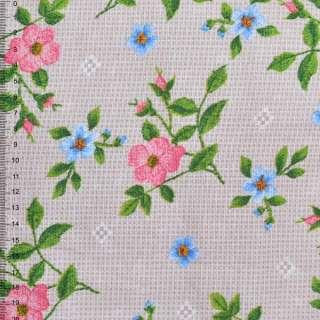 Рогожка набивная бежево-серая с цветущими веточками шиповника ш.150 оптом