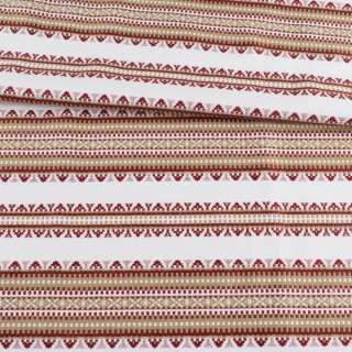 Тканина з українським орнаментом Панночка бежева, ш.150 оптом