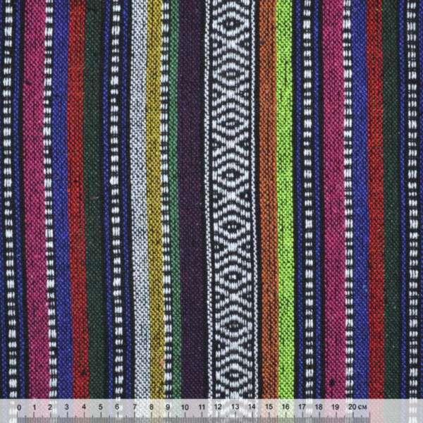 Ткань этно фиолетовые, малиновые, оранжевые полосы с орнаментом ш.150 оптом