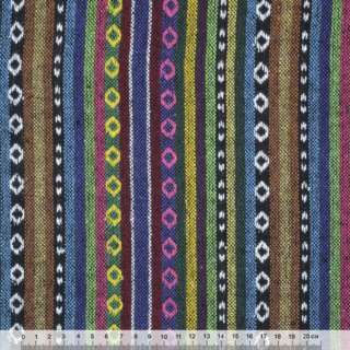 Ткань этно сине-терракотовые, зелено-черные полосы с орнаментом ш.150 оптом