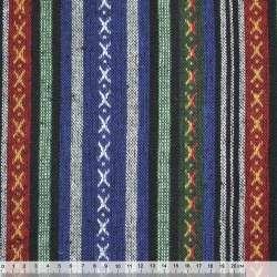 Ткань этно сине-зеленые, черные полосы с орнаментом ш.145 оптом