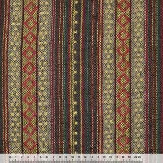 Ткань этно корич-бежевые полосы с красными ромбами ш.150 оптом