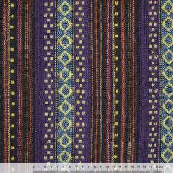 Ткань этно сине-черные, голубые полосы с бежевыми ромбами ш.150 оптом