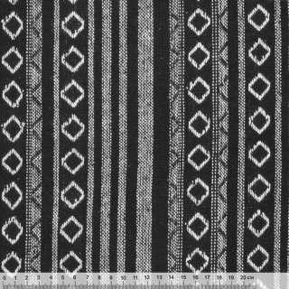 Ткань этно черная с белыми полосками и ромбами ш.145 оптом