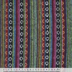 Ткань этно черно-красные, салатово-голубые полосы с орнаментом ш.150