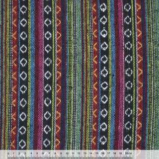 Ткань этно черно-красные, салатово-голубые полосы с орнаментом ш.150 оптом