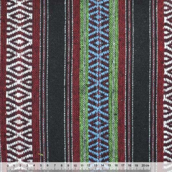 Ткань этно черно-красные, зеленые полоски с орнаментом ш.148 оптом