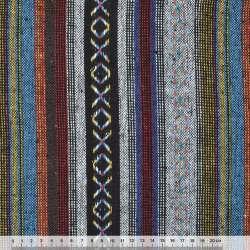 Ткань этно черно-серые, синие полосы с орнаментом ш.150 оптом