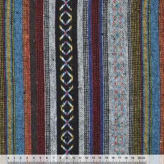 """ткань """"этно"""" черно-серые+синие полосы с орнаментом  ш.150 оптом"""