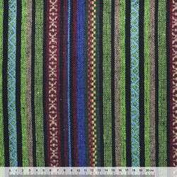 Ткань этно зелено-черные, бордово-бежевые полосы с орнаментом ш.145 оптом