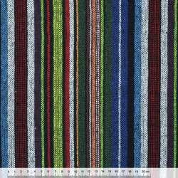 Ткань этно зелено-синие, бело-красные полосы ш.145 оптом