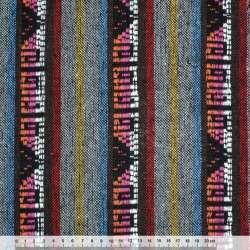 Ткань этно серо-коричневые полосы с орнаментом ш.150