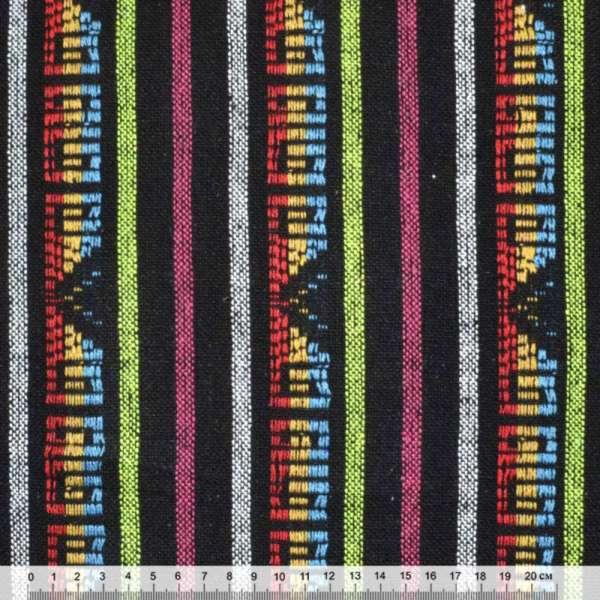 Ткань этно черная в салатовые, белые, малиновые полосы с орнаментом ш.150 оптом