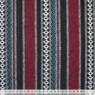 Ткань этно черно-красные, серые полосы с орнаментом ш.150 оптом