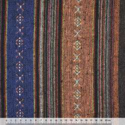 Ткань этно терракотово-синие, коричнево-малиновые полоски с орнаментом ш.146 оптом