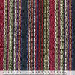 Ткань этно малиново-бежевые, зелено-белые полосы ш.150