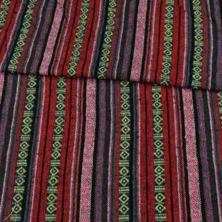 Ткань этно красные, розовые, синие полоски с орнаментом ш.150 оптом