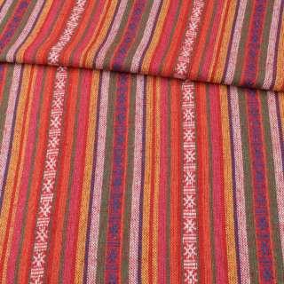 Ткань этно красные, оранжевые, желтые полоски с орнаментом, ш.145 оптом